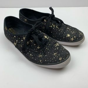 Keds Black Stars Sneakers Lace Up Gold